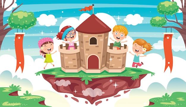 Castillo de cuento de hadas y niños felices