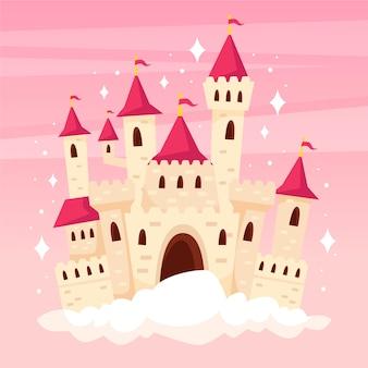 Castillo de cuento de hadas en una nube