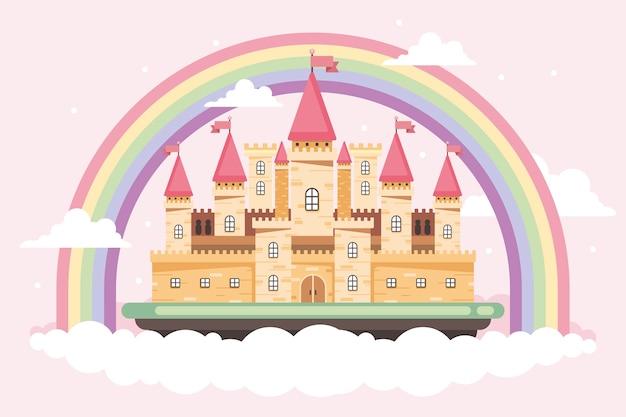 Castillo de cuento de hadas con nubes y arcoiris