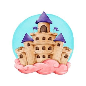 Castillo de cuento de hadas en nubes rosadas