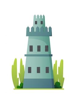 Castillo de cuento de hadas plano. palacio medieval con torre alta y techo cónico. fortaleza o fortaleza con muro fortificado y torre