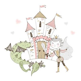 Un castillo de cuento de hadas con un príncipe y un dragón.