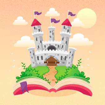 Castillo de cuento de hadas que aparece de un libro
