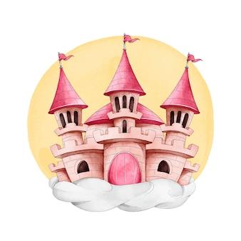 Castillo de cuento de hadas rosa en el cielo