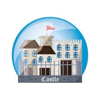Castillo dentro de la esfera del palacio medieval y tema de cuento de hadas
