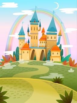 Castillo de dibujos animados lindo castillo de dibujos animados de cuento de hadas. palacio de cuento de hadas de fantasía con arco iris. ilustración vectorial