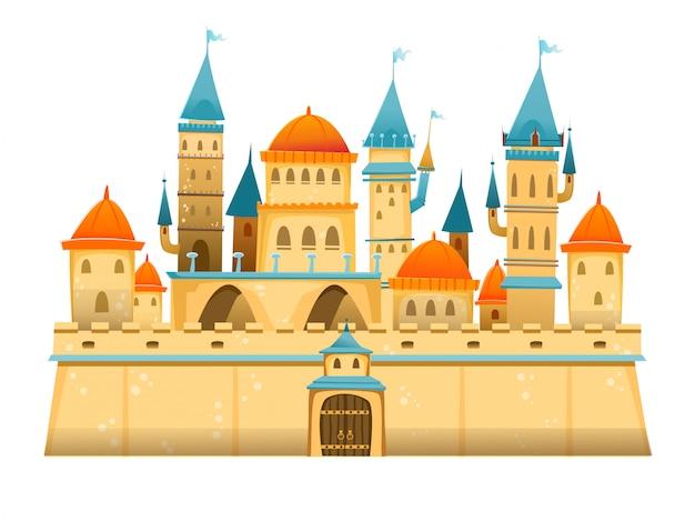 Castillo de dibujos animados lindo castillo de dibujos animados de cuento de hadas. palacio de cuento de hadas de fantasía. ilustración.