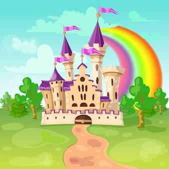 Castillo de dibujos animados lindo castillo medieval de hadas en estilo de dibujos animados.