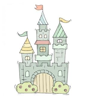 Castillo de dibujos animados lindo para príncipe y princesa