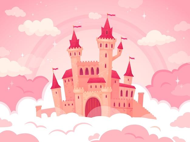 Castillo de dibujos animados en nubes rosadas.
