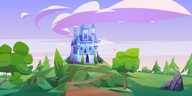 Castillo de dibujos animados, palacio mágico de cuento de hadas con torretas.