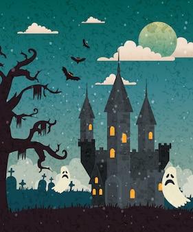 Castillo encantado con cementerio y fantasma en escena de halloween