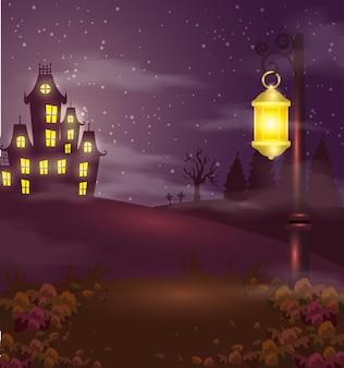 Castillo encantado con lámpara en escena de halloween