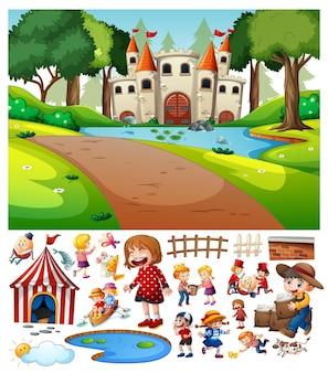 Castillo en la escena del bosque con personaje de dibujos animados.