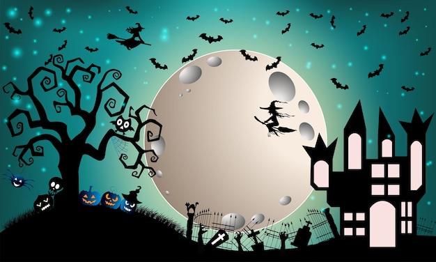 Castillo de halloween y luna llena en la noche oscura