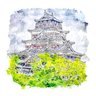 Castillo de hiroshima japón acuarela dibujo dibujado a mano ilustración
