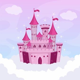 Castillo ilustrado de cuento de hadas