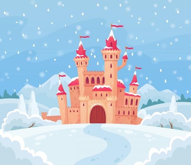Castillo de invierno de cuentos de hadas
