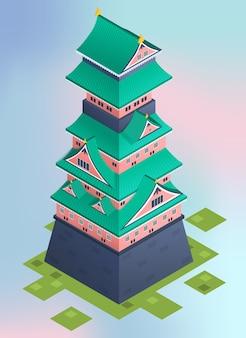 Castillo isométrico de japón