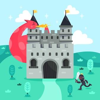 Castillo mágico de cuento de hadas con caballero