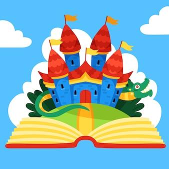Castillo mágico de cuento de hadas y dragón