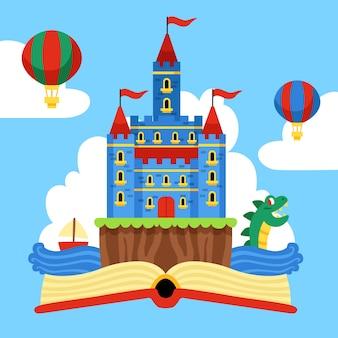Castillo mágico de cuento de hadas y globos aerostáticos