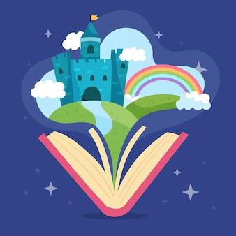 Castillo mágico de cuento de hadas en un libro