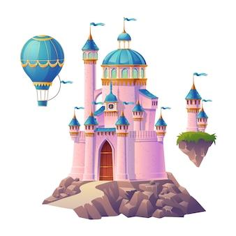 Castillo mágico rosa, palacio de princesa o hada, globo aerostático y torretas voladoras con banderas. fortaleza real de fantasía, linda arquitectura medieval aislada sobre fondo blanco. ilustración de dibujos animados