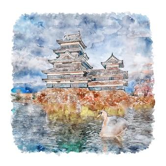 Castillo de matsumoto japón acuarela dibujo dibujado a mano ilustración