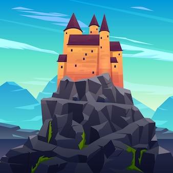 Castillo medieval, antigua ciudadela o fortaleza inexpugnable con torres de piedra en el pico rocoso de dibujos animados