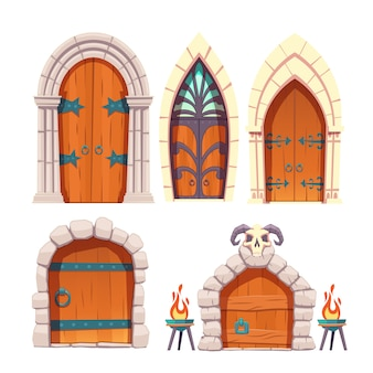 Castillo medieval, conjunto de vectores de dibujos animados de puerta de mazmorra