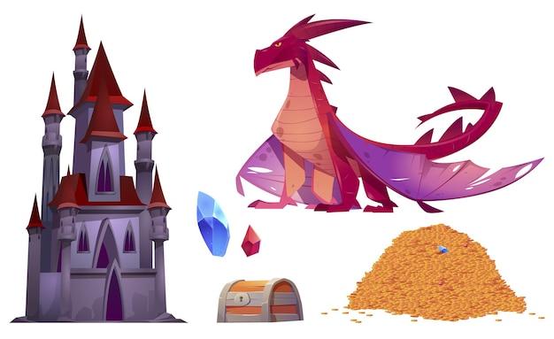 Castillo medieval, dragón, pila de monedas de oro y cofre del tesoro aislado