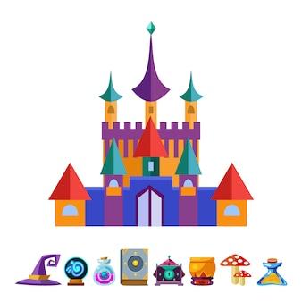 Castillo medieval y elementos para ilustración de juegos