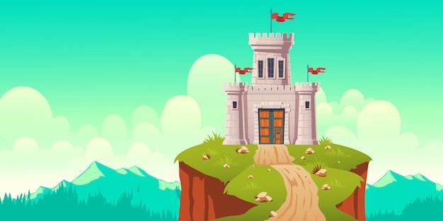 Castillo medieval, fuerte en la ilustración de dibujos animados de acantilado