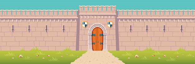 Castillo medieval, ilustración de dibujos animados de pared de fortaleza de la ciudad