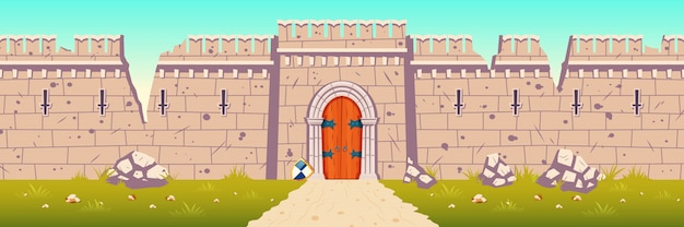 Castillo medieval, ilustración de dibujos animados de pared rota, arruinada