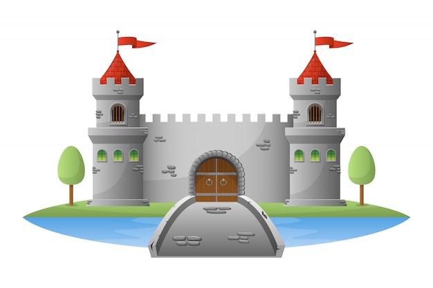 Castillo medieval ilustración sobre fondo blanco.
