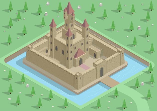 Castillo medieval isométrico con río, murallas, puertas y torres.