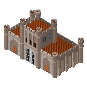 Castillo medieval de piedra isométrico