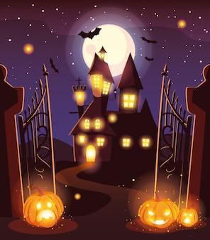 Castillo de miedo con luna en escena de halloween
