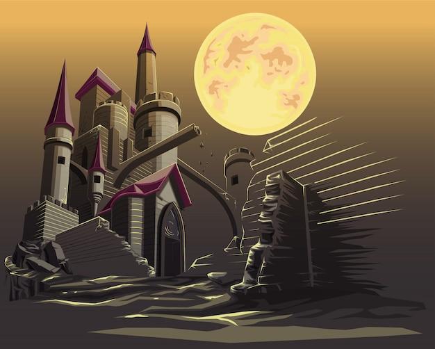 Castillo en la noche oscura y luna llena.