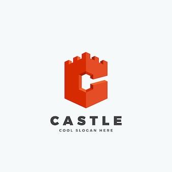 Castillo o torre en forma de letra c., emblema o plantilla de logotipo.