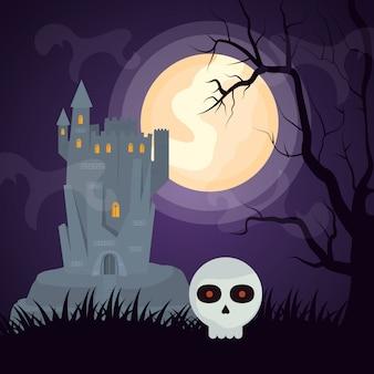 Castillo oscuro de halloween con cabeza de calavera