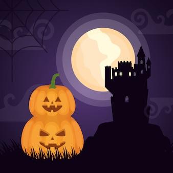 Castillo oscuro de halloween con calabazas