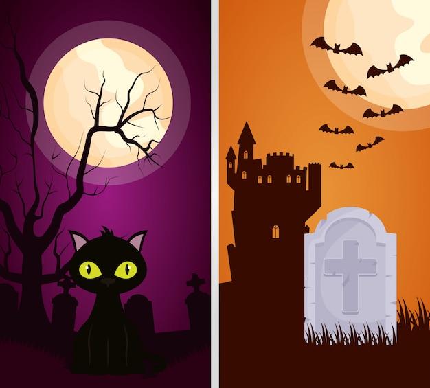 Castillo oscuro de halloween con gato