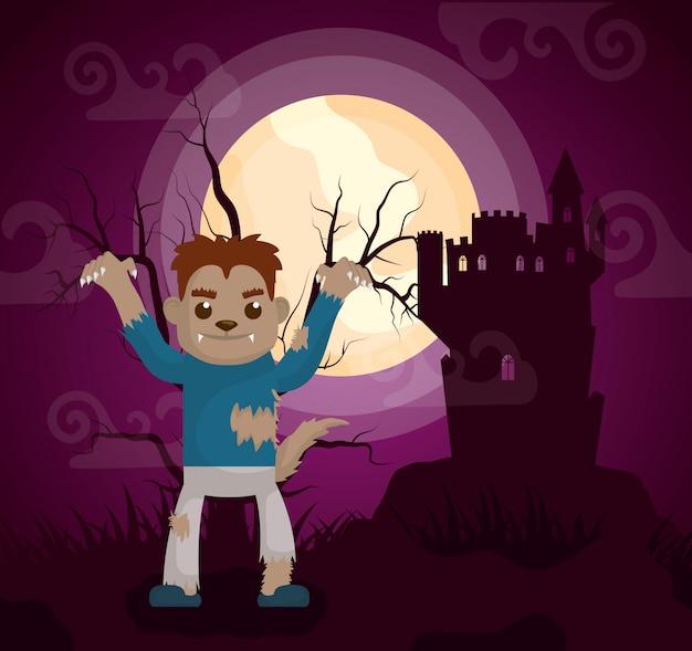 Castillo oscuro de halloween con hombre lobo