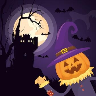 Castillo oscuro de halloween con personaje de calabaza