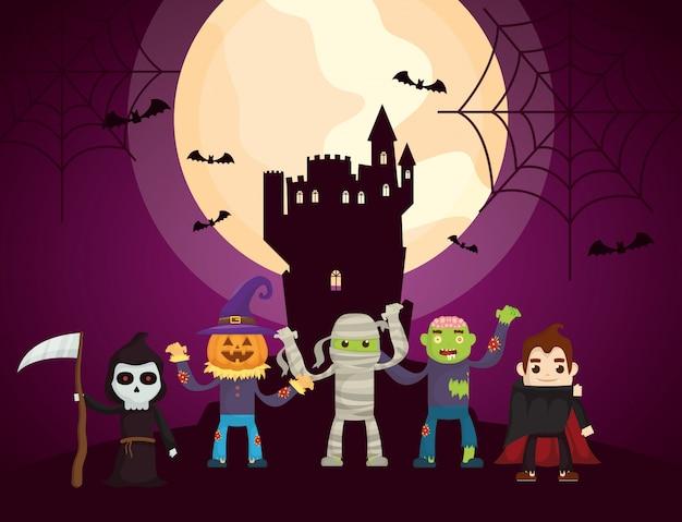 Castillo oscuro de halloween con personajes