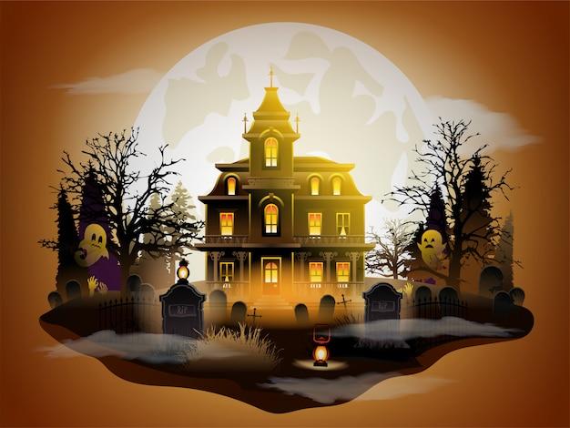 Castillo oscuro de halloween