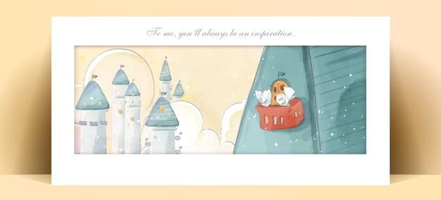 Castillo de pintura de acuarela de panorama en tono de color pastel de ilustración romántica.